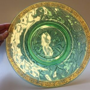 Gold leaf trimmed depression glass plate